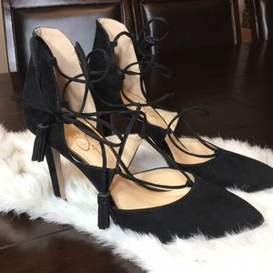 Black Lace Up Heels. Jessica Simpson. Size 8.5